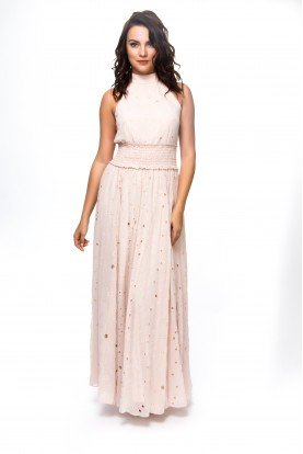 Light Pink Halter Dress with Stretch Belt