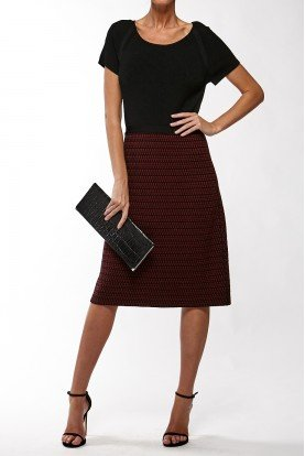 Black Top Weaved Patterned Skirt Wool Dress