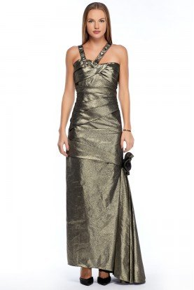 Metallic Grey Mermaid Gown