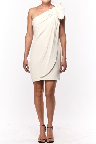 Marchesa Notte White One Shoulder Bow Dress