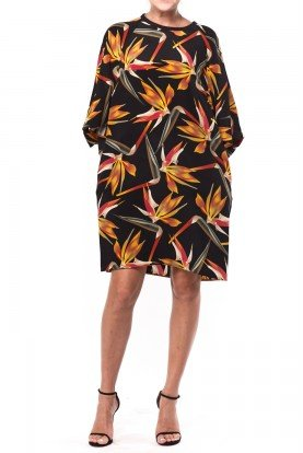 Black Multicolor Birds of Paradise Patter Dress