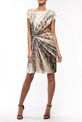 Earth Tone Front Knot Silk Dress