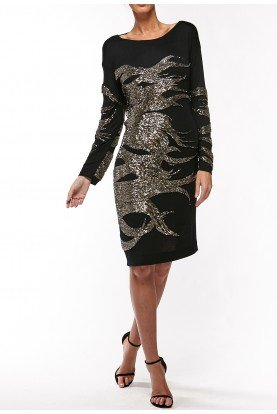 Gunmetal Textured Body Con Long Sleeve Dress