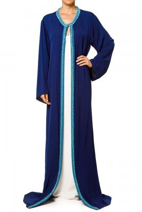 Long Blue Embellished Silk Caftan Dress