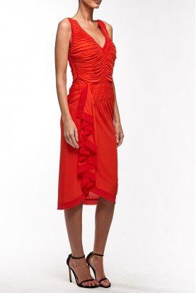 Zac Posen Red Orange Plunging Neckline Ruffled Dress