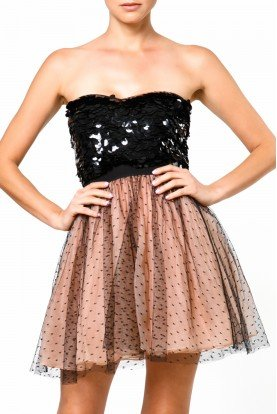 Nude Black Strapless Polka Dot Tule Cocktail Dress