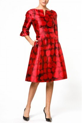 Red  Short Polka Dot Pattern A Line Dress