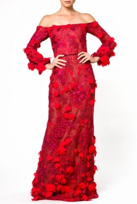 Red Off Shoulder Mesh Gown with Floral Applique