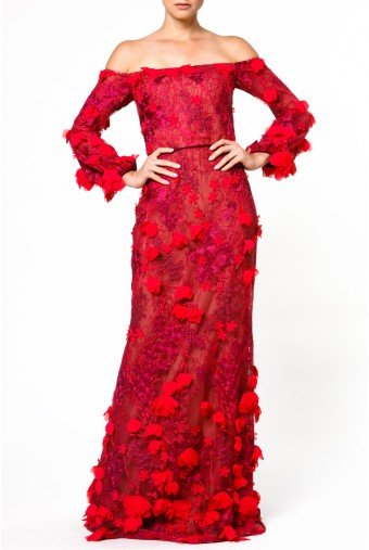 Marchesa Notte Red Off Shoulder Mesh Gown with Floral Applique