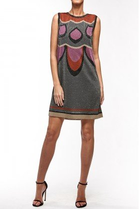 Vintage Retro Sleeveless Printed Dress