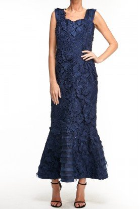 Alex Teih Long Navy Blue Applique Floral Embroidered Dress