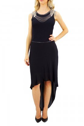 Haute Hippie Black High Low Dress with Silver Collar Chains