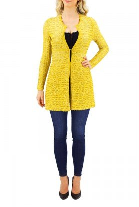 Pepa Pombo Long Sleeve Knitted Yellow Stretch Cover Up Jacket