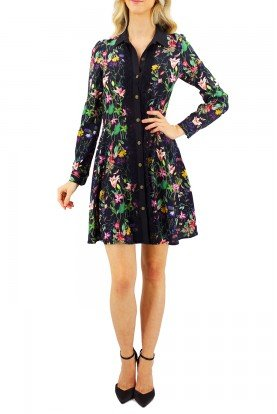 Floral Long Sleeves Button Down Dress