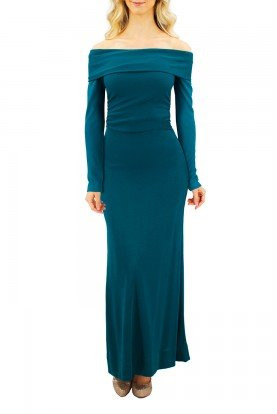 Turquoise Green Bardot Off the shoulder Gown