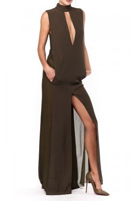 Emilio Pucci Sexy Olive Green High Neck Slit Silk Gown