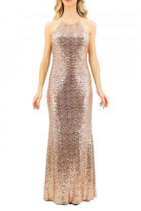 Gold Sequin Racerback Gown