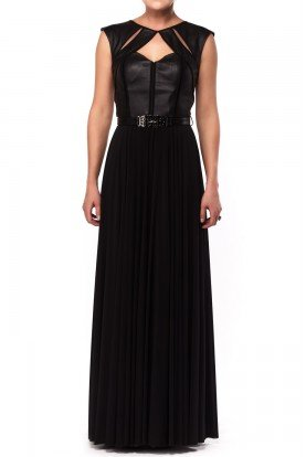 Black Leather Bustier Belted Silk Gown