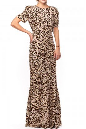 Givenchy  Beige Rose Open Back Leopard Print Dress
