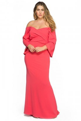 Coral Minimalist Off Shoulder Gown