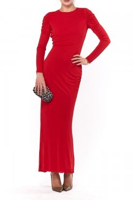 Alexander McQueen Red Fitted Long Sleeve Silk Gown