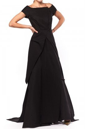 Long Black Faille Off Shoulder Gown
