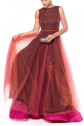 Valentino Pink Sleeveless Tulle Flared Gown