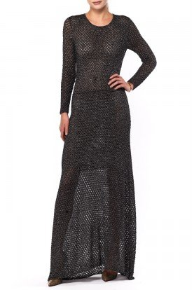 Chloe Long Black Woven See- Through Gown
