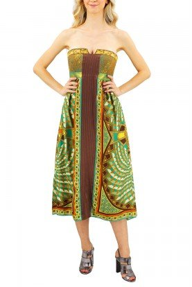 Strapless Brown and Green Geometric Print Dress
