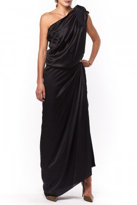 Black Velvet One Shoulder Dress