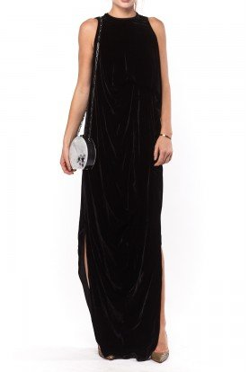 Black Double Slit Velvet Gown