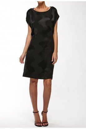 Black Geometric-Patterned Silk Dress
