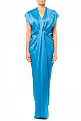 Blue Washed Satin Cap Sleeve Maxi Dress