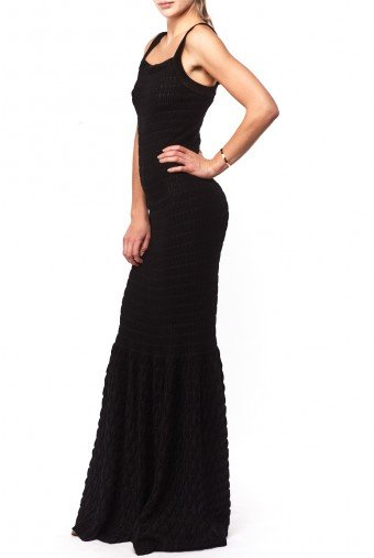 Alaia Black Ribbed -Pattern Mermaid Gown