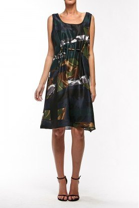 Abstract Silk Sheath Mini Dress