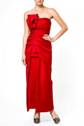 Satin Red Strapless  Aplique Gown 302