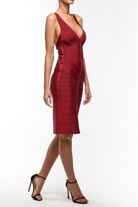 Red Sleevless Bandage Dress