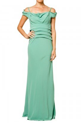 Mint Green Silk Off the Shoulder Gown