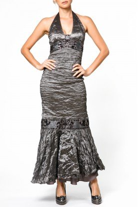 Gunmetal beaded chiffon halter gown