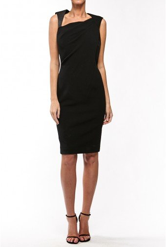 Kaufman Franco Little black dress with leather detail