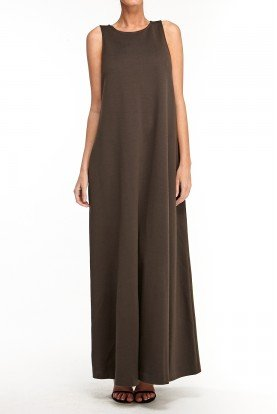 St John Brown Knit Long Dress Maternity Gown