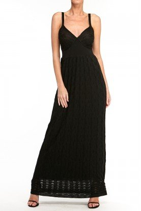 Sleeveless Black Knit Long Dress