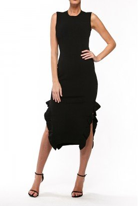 Opening Ceremony Sleeveless Black Ruffle Midi Knit Dress