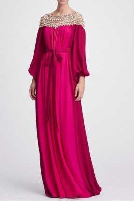 Fuchsia Tonal Pink Georgette Caftan Gown Dress