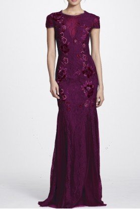 Marchesa Notte Burgundy Short Sleeve Floral Embroidered Gown