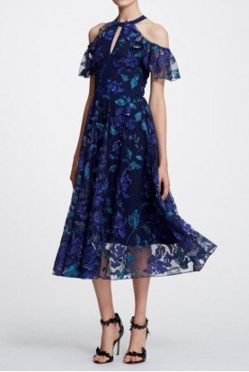 Marchesa Notte Navy Blue Floral Cold Shoulder Midi Tea Dress