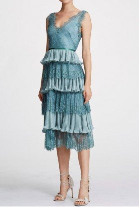 Teal Sleeveless Lace Scallop Midi Tea Dress