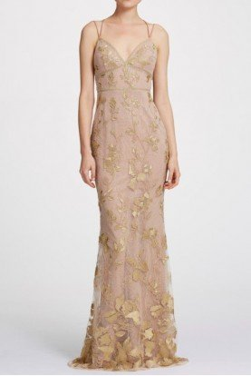 Marchesa Notte Gold Nude Sleeveless Floral Metallic Evening Gown