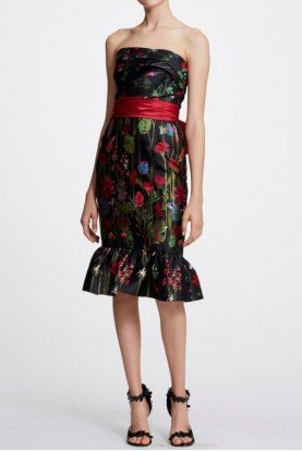 Black Strapless Floral Printed Mikado Dress