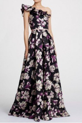 One Shoulder Black Metallic Floral Gown Dress